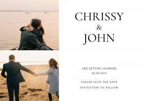 A photo save the date card with two photos or a couple during their engagement.