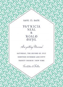A modern save the date design with a geometric, green pattern as a background, and a diamond central area for text.