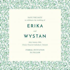 A square, floral save the date with a painted, burred green leaf pattern.