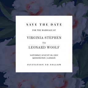 A dark, floral wedding save the date card. There is a dark, navy-blue floral border around simplistic text