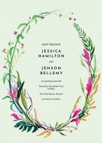 A floral save the date design with a tropical and colourful wildflower wreath. It sits on the card's light green background.