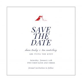 A classic save the date design with a light grey border and two red lovebirds at the top of the page.