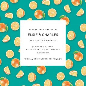 A modern save the date design with a green background and painted oranges dotted around it