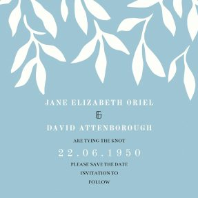 A modern, floral save the date design with a grey/blue background and white ivy pattern towards the top.