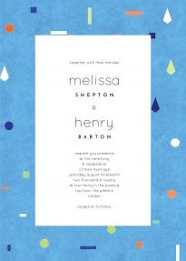 And abstract wedding invitation made up of a rough, blue background with different pastel-coloured shapes spaced out across it.