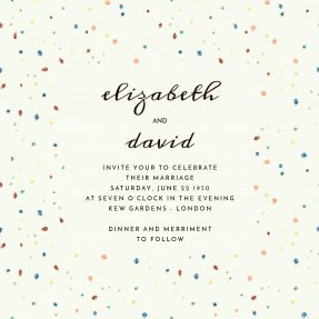 Speckles of blues and reds site on a cream background. This is a modern, and light-hearted wedding invitation design.