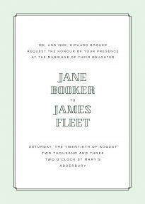 An Art Deco wedding invitation design comprised of a mint green border with a block typeface used for the bride and groom's names.