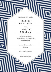 A geometric wedding invitation made of a diamond-shaped blue and grey pattern. This wedding invitation is modern and eccentric.