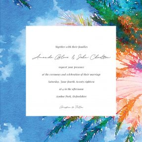A destination wedding invitation design. The invites border is made from a painted view of a tropical sky and palm trees.