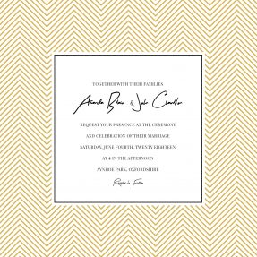 A square, modern wedding invitation design with gold diagonal lines forming a border around a handwritten font type.