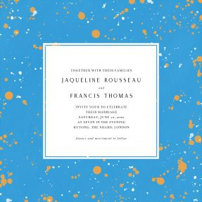 A square, modern wedding invitation. The background is a strong blue colour with orange and white paint splatters across it.
