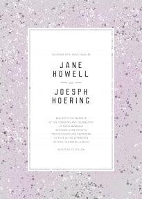 This wedding invitation is predominantly grey/purple with splatters of white and darker purple. The text sits in a central white frame.