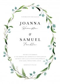 A beautiful watercolour wedding invite design. The border is a thin, green wild flower wreath in greens and blues.