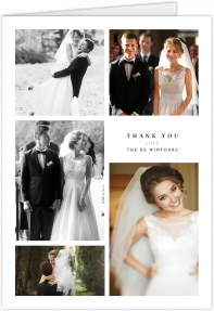 A portrait, A5 wedding thank you card with 5 photo frames. The card has photos of a married couple on them.