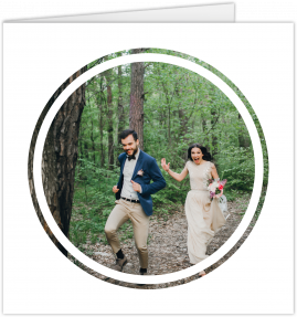 A modern wedding thank you card with a circular white photo frame.