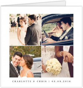 A square wedding thank you card with 4 photo frames. The frames are filled with photos of a married couple on their wedding day.