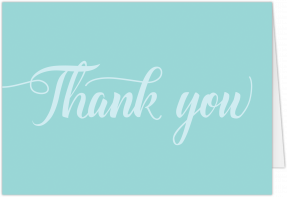A simple, landscape wedding thank you card. Light blue text sits on a darker blue background.