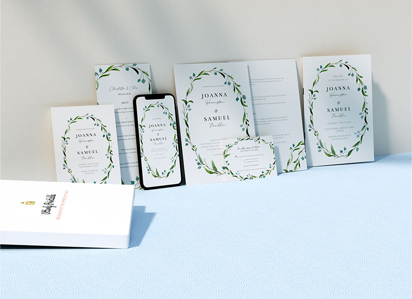 A selection of personalised wedding invitations, save the dates, RSVP cards and other stationery. All with a floral design.