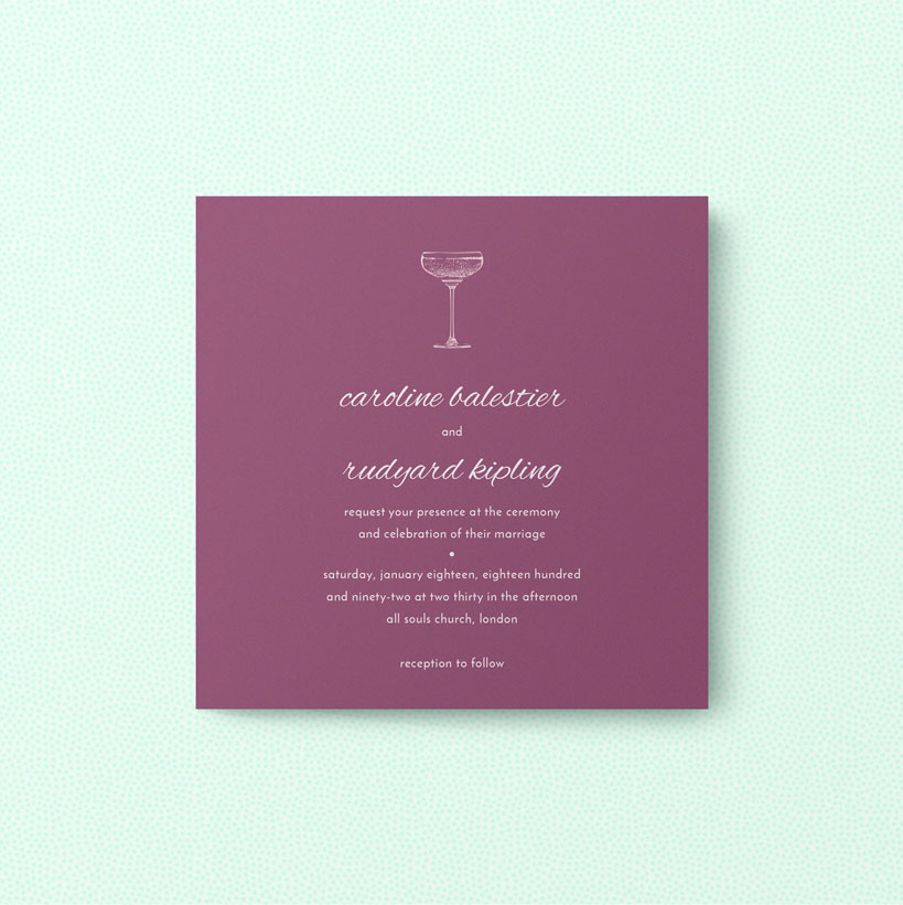 Classic wedding invitation design with a burgundy background and white font