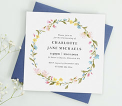 A beautiful, square christening invitation with floral design