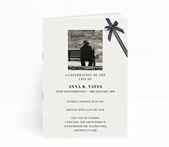 Landscape printed funeral invitation card with black ribbon