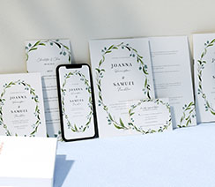 Matching personalised wedding stationery set in a floral style