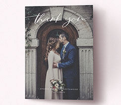 Printed portrait wedding thank you card with photo