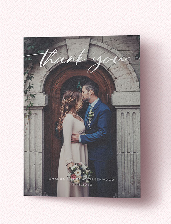 An affordable wedding thank you card with full-page photo