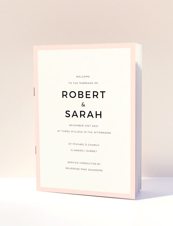 A classic wedding order of service design with multiple pages and a pink border