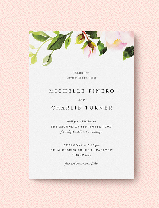 A personalised wedding invitation with floral rose design